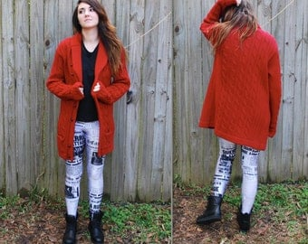 Vintage // Oversized Red Grandpa Cardigan // 100% Chunky Knit Wool // Size M Sweater Jumper