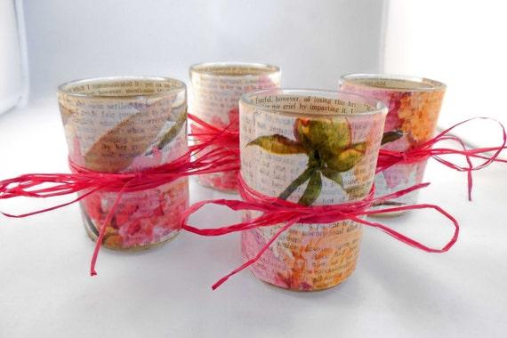 Decoupage Votive Candle Holder Set: Spring Romance--Jane Eyre Novel Passages with Floral Motif, Set of 4
