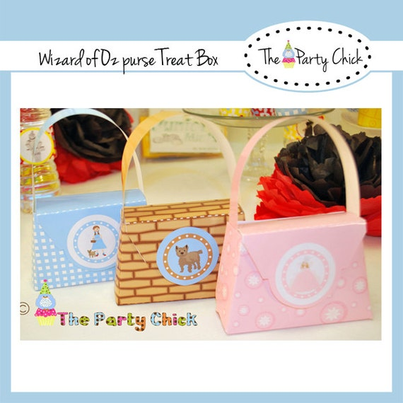 Printable Treat box, Purse,  INSTAND DOWNLOAD,  Co ordinates with ,Wizard Of OZ kit, 4  patterns