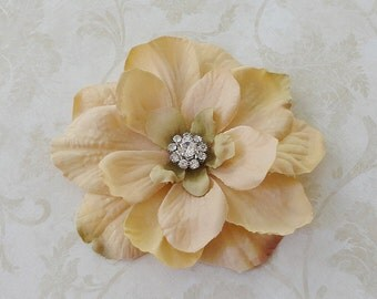 Bridal Champagne Flower Hair Clip, Small Taupe Hair Clip, Bridesmaids Flower Hair Pin, Flower Fascinator Hairpiece,Brooch Pin