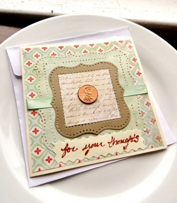 PENNY FOR THOUGHTS Greeting card, Thinking of You, Copper, Soft Mint Green and Red, Blank Inside, Mint and Copper
