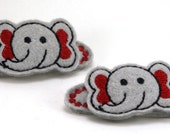 Elephant Felt Stitchies Snap Barrette Hair Clips