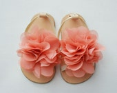 Leather baby sandals with vintage pink color chiffon flower- other colors available