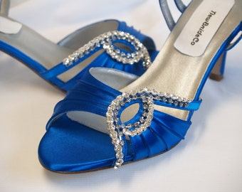 Something Blue Wedding Shoes, Royal Blue Open Toe Satin Shoes, Crystals & 2.5 inch heels, ankle strap