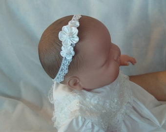 Baby Girl Infant Stretch White Headband, Lace and satin flowers w/ pearls, Baptism, Christening, Presentation Hair Accessory