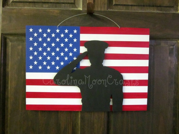 Items similar to patriotic door hanger support our for Patriotic welcome home decorations