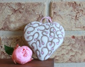 Needle felted heart beige pale pink - Mothers day gift