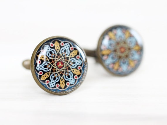 Mandala Ethnic Cufflinks - Oriental jewelry - Men cufflinks