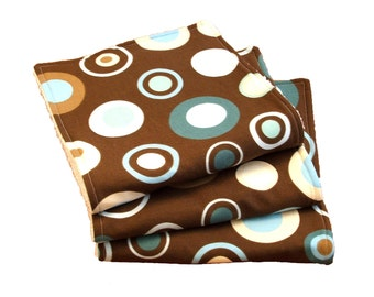 Circle Burp Cloths - Teals and Blue on Brown - Set of 3