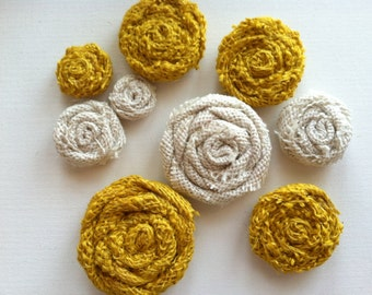 Mustard Yellow and Ivory Set of 9 Rolled Burlap Flowers in Varying Sizes