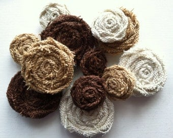 One Dozen Burlap Flowers, In Ivory, Tan and Brown