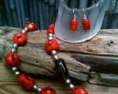 Carla Necklace Set / Red Coral, Smoky Quartz & Silver