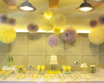 30 Tulle poms, party decorations, nursery, kids party. yellow and gray, decorations