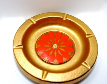 Vintage Ashtray Gold Glazed Ceramic Orange 1970s