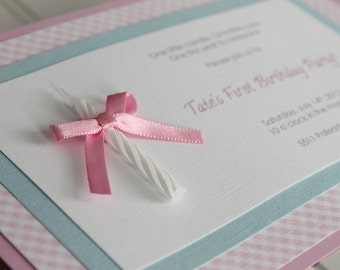 Shabby Chic 1st Birthday Handmade Invitation with Candle