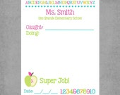 "Teacher Notepad - Inspiring ""Super Job"" in Spring Colors with ABC & 123 - Personalized Custom Notepads-Encouragement for School Kids.*Janda*"
