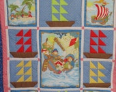 Cyber Monday Clearance Priced.  Teddy Bears and Pirates, Patchwork Toddler Quilt.  OOAK, Reds, Blues, Bright colors,  Ships and Pirates