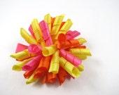 Pink Yellow Orange Korker Hair Bow - Pink Hair Bow - Orange Hair Bow - Yellow Hair Bow - Small Hair Bow - Korker - Pink - Orange - Yellow