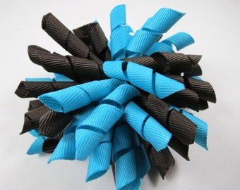 Brown and Aqua Blue Korker Hair Bow  -  Brown Korker Hair Clip - Blue Korker Hair Clip - Korker Hair Bow - Korker Hair Clip - Brown - Blue