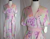 Vintage Dress Flutter Springtime Shannon Rodgers for Jerry Silverman purple floral dress
