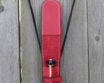 Leather Pendant Fountain Pen Case Veg Tan RED