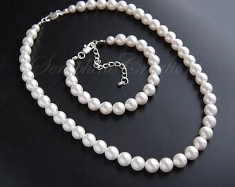 Bridal pearl jewelry set - Classic pearl jewelry - Swarovski Crystal White pearl necklace and bracelet KPL013