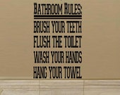 wall decal - Bathroom Rules - varsity sport font boy men