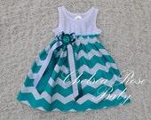 Gorgeous Chevron Baby and Toddler Dress, Baby Girl Dress, Teal Chevron print, Designer Summer Dress, Baby Dress