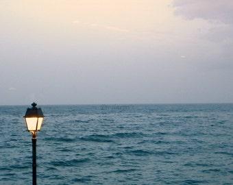 Sunset photo print, blue summer photo, street lamp by the sea, Greece, photo travel print, wall decoration