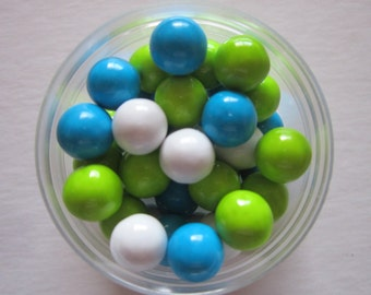 Lime Green Blue White Candy Coated Chocolat Sixlet Cupcake Topper Decorations