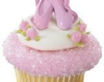 12 Ballet Slipper Cupcake Topper Rings