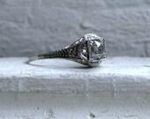 Antique Platinum Diamond Engagement Ring - 1.08ct.