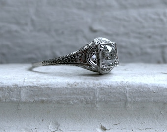 Antique Platinum Diamond Engagement Ring - 1.08ct.