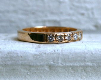 The Classic Vintage 14K Yellow Gold Pave Diamond Wedding Band.