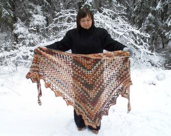 Crochet Shawl, Handmade Triangle Shawl, Winter Accessory in Autumn Colors