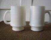 Coffee mugs, milk glass