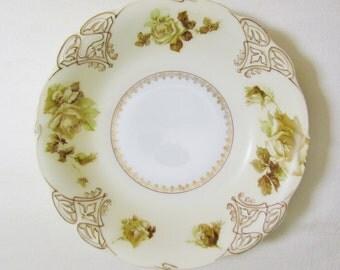 Antique Old Ivory bowl, Ohme porcelain bowl, c.1900 Art Nouveau china