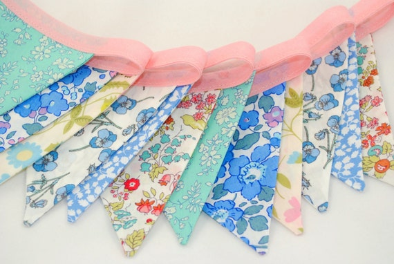 Shabby Chic Liberty of London Bunting - POWDER BLUE & PINK - perfect for Showers, Weddings and Parties