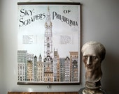 """Large Canvas Vintage Pull Down Style School Chart with Oak Wood Trim - Skyscrapers of Philadelphia (24""""x31"""")"""