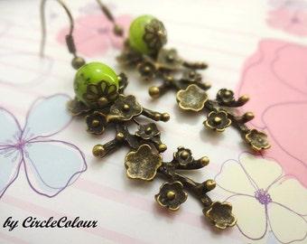 Cherry Blossom Earrings - Cherry Blossom Flower Dangle Earrings