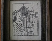 American Gothic by Woods - Embroidered and framed