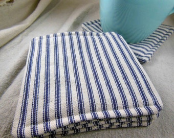 Blue & White Fabric Coaster Set - Mug Rug - Set of Four