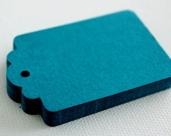 50 TEAL Hang Tag, Gift Tag, Price Tag Die cuts punches cardstock 2.25X1.5 inch -Scrapbook, cards