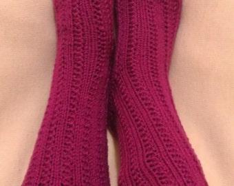 20% Off Sale - Hand Knitting Home Socks / Handmade Purple Color Socks / Handmade Knit Woman Socks