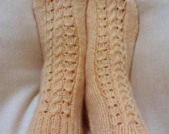 Handmade Knit Home Socks/Knitting Socks/Home Handmade Knit Socks Cream Color Knit Socks