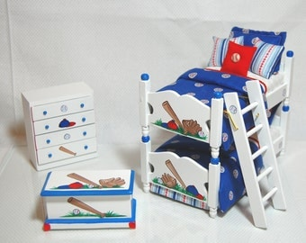 BASEBALL Theme Boys Bunk Bed Set Dollhouse Miniature BATTER UP  Blue Red White Sports Custom Dressed 1:12