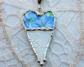 Necklace, Broken China Jewelry, Broken China Necklace, Heart Pendant, Morning Glory Chintz, Lace Eyelet China, Sterling Silver Chain