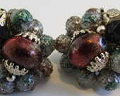 Vintage Ear Clips beaded 1940s jewelry
