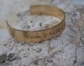 "Personalized Hand Stamped 1/2"" Brass Cuff Bracelet"