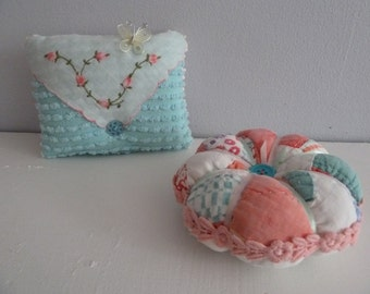Spring Pastels - Lavender Scented Sachet and Coordinating Pincushion -Vintage Handsewn